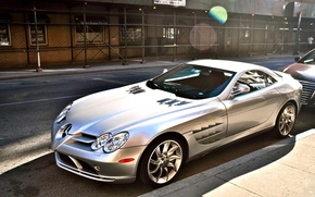 Picture road, grey, Mercedes, drives