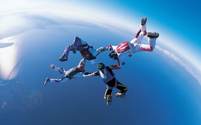 Wallpaper formation skydiving, 4-way FS, skydivers, helmet, extreme sports, lake, parachute, camera, container, the sky, parachuting, ...