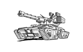 Picture tank, futuristic, heavy weapons