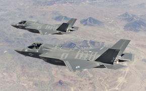 Picture flight, fighters, pair, bombers, pilots, Lightning II, F-35B