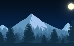 Picture Mountains, Night, Forest, Firewatch