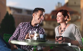 Picture mood, woman, coffee, cafe, male, smile, the conversation