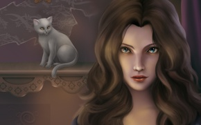 Picture cat, eyes, look, girl, background, hair, art, white, painting, curls
