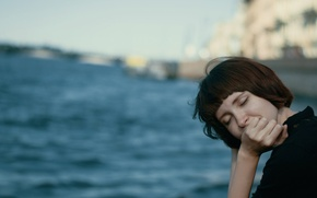 Picture water, smile, hair, closed eyes, indie, folk, little Camus
