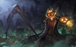 Picture Halloween, pumpkin, braid, art, reaper, overwatch, Gabriel Reyes