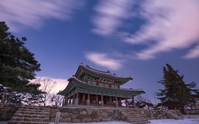 Picture winter, the sky, stars, clouds, snow, trees, night, nature, China, pagoda, architecture, lilac