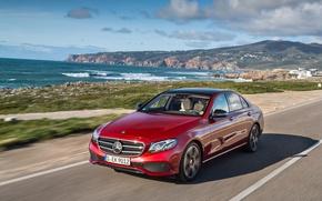 Picture sea, the sky, clouds, the ocean, shore, coast, Mercedes-Benz, E-Class, Mercedes, W213