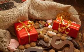 Picture cookies, bag, chocolate, new year, cakes, holiday, gifts