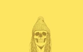 Picture Minimalism, Skull, Hat, Hair, Art, Art, Sake, Wallpaper, Yellow, Minimalism