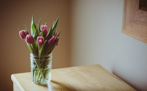 Picture leaves, flowers, table, background, widescreen, Wallpaper, purple, tulips, vase, wallpaper, flowers, flower, widescreen, background, full …