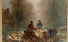 Picture sheep, cows, on the way to market, the way to the market, Constant Troyon, Constant …