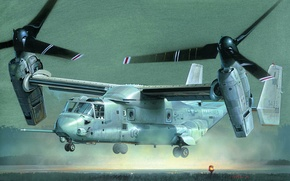 Picture art, USA, American, sea, the tiltrotor, Osprey, Navy, V-22, infantry, aircraft, USA., armed, helicopter, separate, ...