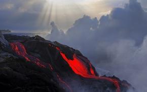 Picture color, the eruption, lava, temperature, magma