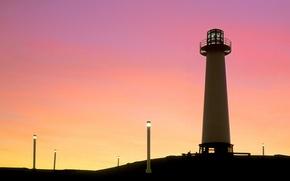 Wallpaper Sunset, Lighthouse, Lights
