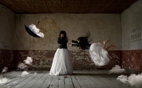 Picture girl, clouds, fantasy, room, umbrella, art