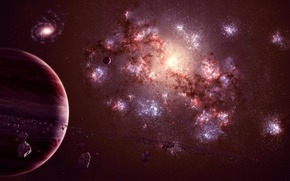 Wallpaper planet, satellite, asteroids, universe, gas giant, galaxy
