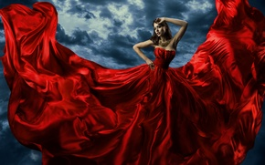 Picture look, decoration, background, train, hands, makeup, red dress