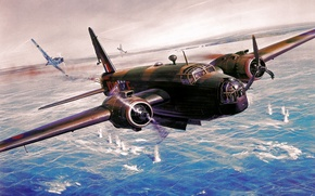 Picture war, art, painting, aviation, ww2, Roy Cross, Vickers Wellington