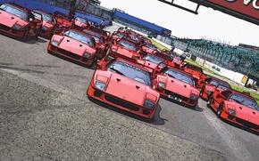 Picture Red, Figure, Machine, Ferrari, F40, Car, A lot, Start, F 40