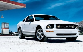 Picture white, the sky, coupe, dressing, mustang, Mustang, ford, Ford, coupe, the front