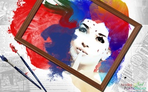 Wallpaper face, paint, watercolor, brush