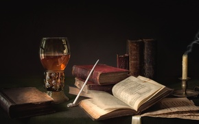 Picture glass, books, candle, tube, still life
