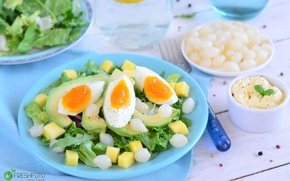 Picture egg, bow, salad, avocado
