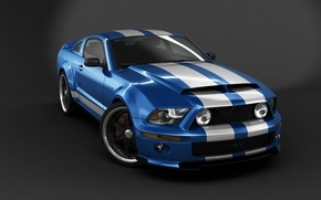 Wallpaper car, Mustang, Ford, Shelby, GT500, USA, supercar, Ford Mustang, blue, speed, Ford Mustang Shelby GT500, ...