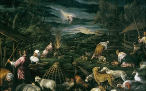 Picture animals, people, God, picture, the Bible, mythology, Francesco Bassano, Noah The Flood The Poll
