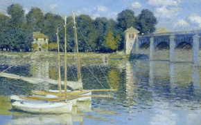 Picture landscape, picture, boats, Claude Monet, The bridge at Argenteuil