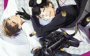 Picture language, machine, gas mask, gloves, guys, cartridges, two, grin, art, aoharu x kikanjuu, naoe, Haruki …
