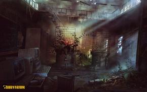 "Picture computer, flower, art, skeleton, laboratory, postapokalipsis, complex, location, Survarium, concept art, desolation, Vostok Games, ""Vector"", …"