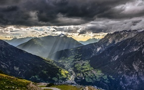 Picture Alps, mountains, road, Thunderstorm, Blue, Dark, Green, the city, Europe, Nature, Sunset, Europe, the sun, ...