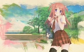 Picture anime, art, girl, schoolgirl, backpack, skirt