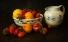 Picture background, lemon, strawberry, berry, vase, pitcher, fruit, peach, tangerines