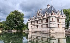 Picture lake, Park, castle, France, The castle of Azay le Rideau
