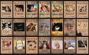 Picture Dragon, wanted, One Piece, Robin, pirates, Monkey D Luffy, Ace, Crocodile, Zoro, Luffy, Belly, Akuma …