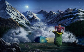 Picture mountains, hare, art, tent, guy, avalanche, sleeping bag