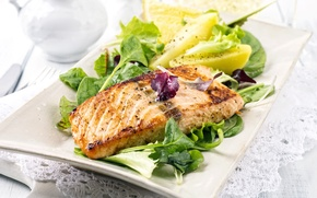 Picture leaves, lemon, fish, lemon, salad, fish, salad