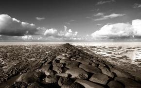 Wallpaper stones, horizon, clouds