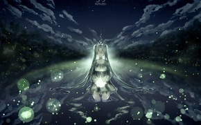 Picture the sky, water, girl, clouds, nature, fireflies, anime, art, vocaloid, hatsune miku, kimven