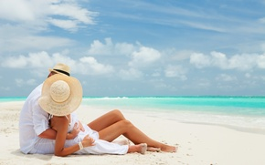 Picture beach, the ocean, pair, two, white sand, couple on the beach