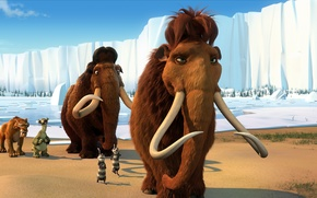 Wallpaper sloth, hike, tiger, heroes, cartoon, Diego, Led, characters, opossums, mammoths, cartoon, adventure, Ice age 2, ...