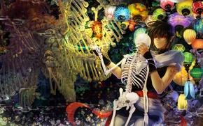 Picture elf, anime, art, bones, skeleton, guy, lanterns