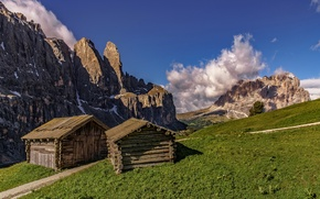 Picture mountains, house, slope, The Dolomites