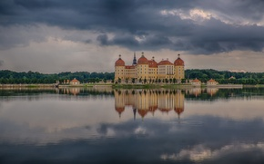 Picture the storm, lake, reflection, storm, lake, reflection, Saxony, Saxony, Moritzburg Castle, thunderstorm, Fairy tale castle, …