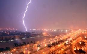 Wallpaper the storm, lightning, FL, Fort Lauderdale