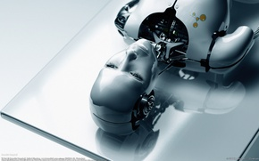 Picture white, face, table, Robot