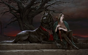 Picture look, girl, sunset, branches, pose, tree, animal, dog, art, sitting