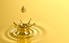 Picture gold, drop, yellow background